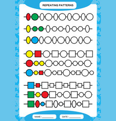 complete repeating patterns worksheet for vector image