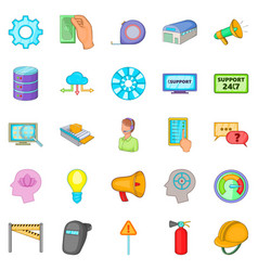 Computer expertise icons set cartoon style vector