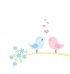 couple of cute birds in love vector image