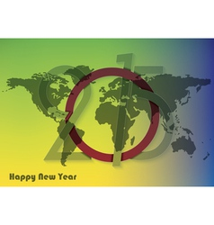 Creative greeting card design new year 2015 with w vector image