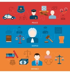 Crime and punishments horizontal flat banners vector