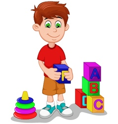 cute boy cartoon playing lego vector image