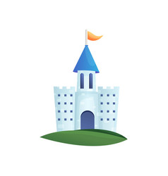 cute colorful fairy castle with blue roand vector image