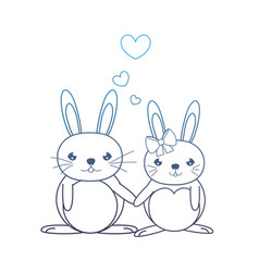 Degraded line cute couple rabbit animal with vector