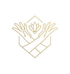 Design flower growing between hands hand vector