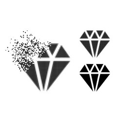 Disappearing pixelated adamant crystal icon vector