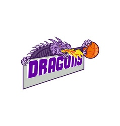 Dragon Head Fire Clutching Basketball Retro vector