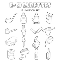 E-cigarettes icons set outline style vector