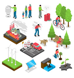 Ecology isometric set vector