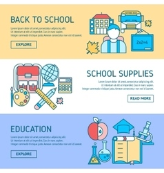 Education Horizontal Linear Banners vector image