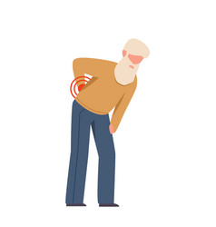 Elderly man suffering from back pain grandfather vector