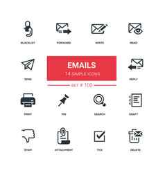 Emails - flat design style icons set vector