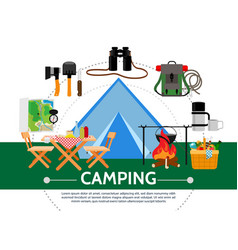 flat camping template vector image
