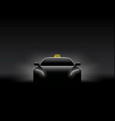 Front view dark taxi car silhouette vector