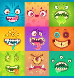 funny halloween cute and scary monster vector image