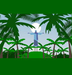 Gift card statue jesus redeemer in brazil vector