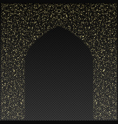 Golden gate of the mosque on a transparent vector
