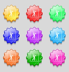 Golf icon sign symbol on nine wavy colourful vector