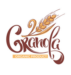 granola logo template with calligraphy lettering vector image