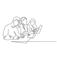 Group people working continuous one line vector