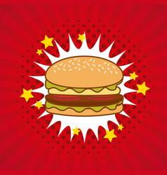 Hamburger comic pop art vector