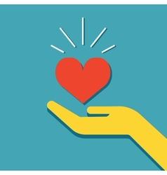 Hand holding heart icon vector