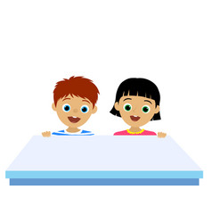 happy and confused children behind the empty desk vector image
