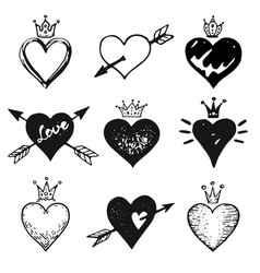 heart set hand drawn doodle sketch style vector image