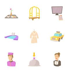 hotel staff icons set cartoon style vector image