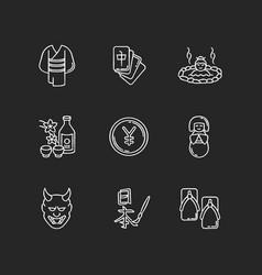 Japan chalk white icons set on black background vector