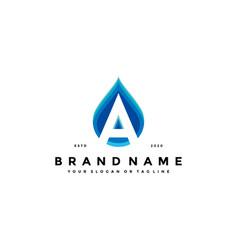 Letter a water drop logo design vector