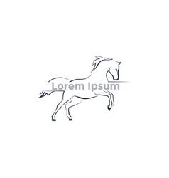 logo running horse contour logo vector image