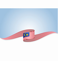 Malaysian flag wavy abstract background vector