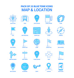 Map and location blue tone icon pack - 25 icon vector