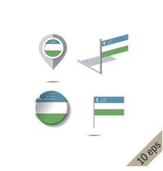 Map pins with flag uzbekistan vector