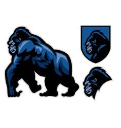 mascot gorilla walking set vector image