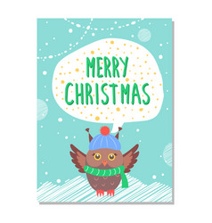 merry christmas greeting card with owl in warm hat vector image