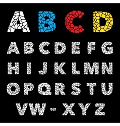 Mosaic puzzle alphabet set design vector image