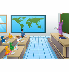 Muslim students and teacher in classroom vector