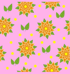 Pattern of orange flowers with green leaves on a vector