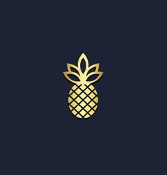 Pineapple fruit gold logo vector