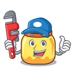Plumber cream jar mascot cartoon vector