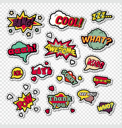 pop art comic speech bubbles set with funny text vector image