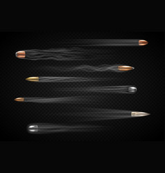 realistic bullets set vector image