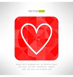 Red white heart icon in modern geometrical design vector image