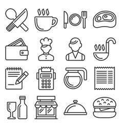 restaurant cooking and kitchen icons set line vector image