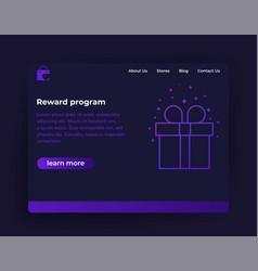 Reward program website template vector