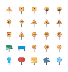 Road signs and junctions flat icons pack vector