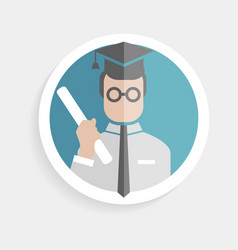 Round paper icon successful man vector