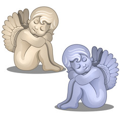 sculpture angel baby serene figurine isolated vector image